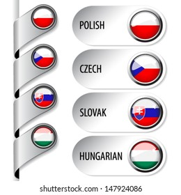 Vector language pointers with flag for web - set 5/5 - Czech Republic, Slovakia, Poland, Hungary