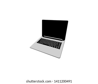 Vector Laptop with blank white screen. Isolated on white background.