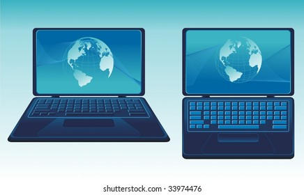 vector laptop with earth globe
