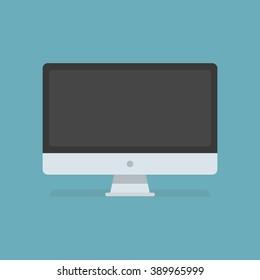 Portatile vettoriale. Personal computer in stile piatto. Computer desktop. Icona del computer isolata sullo sfondo