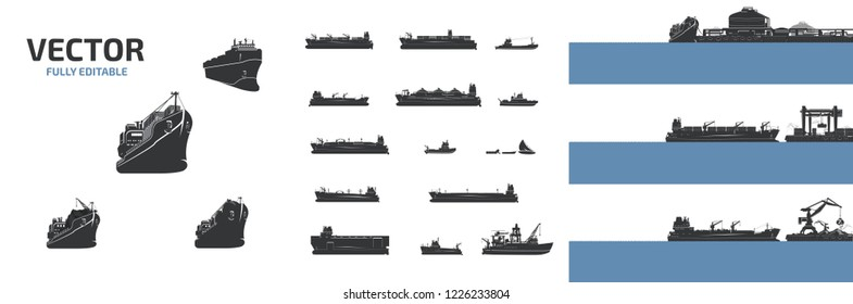Vector large cargo ships and boats of various types.