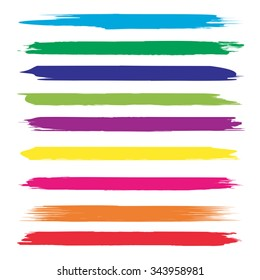 Vector large collection or set of artistic colorful multicolored paint hand creative brush strokes isolated on white background, metaphor to art, grunge or grungy, sketch, education or abstract design