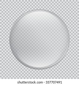 Vector large round clear glass with glare