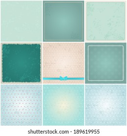 Vector large set of 9 retro, vintage, abstract hipster backgrounds