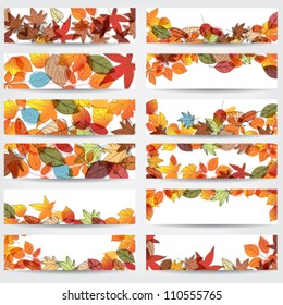 Vector large set of colorful, hand drawn style autumn leaves banners illustration