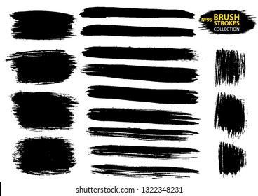 Vector large set different grunge brush strokes. Large set different grunge brush strokes.