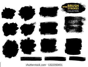 Vector large set different grunge brush strokes. Large set different grunge brush strokes. Dirty artistic design elements isolated on white background. Black ink vector brush strokes