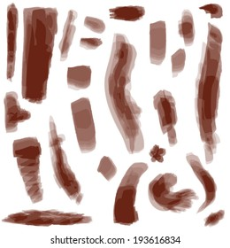 Vector large set of different grunge brush strokes.