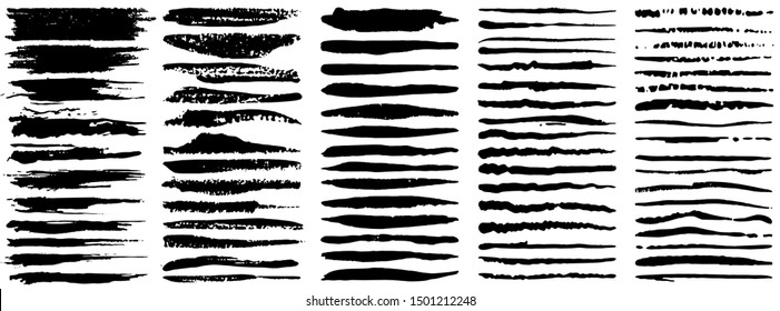 Vector large set of grunge ink brush strokes. Black artistic paint, hand drawn. Dry Brush Stroke elements collection isolated on white background.