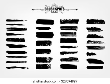 Vector large set hand drawn illustration. Ink brush grunge strokes backgrounds set for text. elements, template for backgrounds or card design
