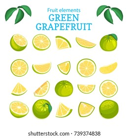 Vector large set of ripe tropical grapefruit fruits. Green oranges peeled piece of half slice leaf. Collection of delicious citrus pomelo designer elements for packaging of juice breakfast health food