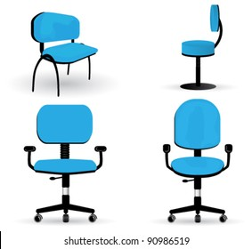 Vector large set of very detailed, office chair illustrations