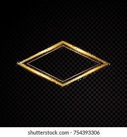 Vector Las Vegas frame. Shining banner. Isolated on black transparent background Vector illustration