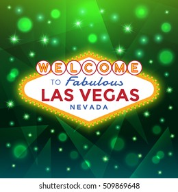 Vector Las Vegas Sign against the green sparkling background.