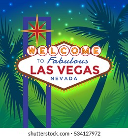 Vector Las Vegas Sign against the backdrop of palm trees and sunset in the blue-green color.