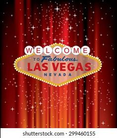 vector Las Vegas sign on red velvet with stars