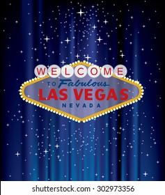 vector Las Vegas sign on blue velvet with stars