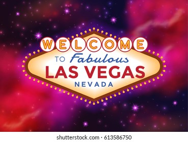 Vector Las Vegas Sign on the Night sky with sparkling stars or cosmic background.