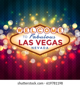 Vector Las Vegas Sign on sparkling bokeh background.