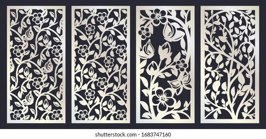 Vector laser cut cnc panel. Set of silhouette cutout design. Floral wall decor with branch, leaves, flower and butterflies. Die cutting stencil. Metal, paper or wood carving panel. Outdoor screen.