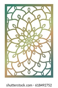Vector Laser cut panel. Pattern template for decorative panel. Wall vinyl art decor. Stock vector.