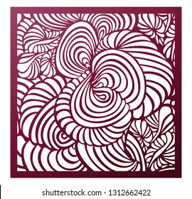 Vector Laser cut square panel. Abstract pattern template for decorative panel. Template for interior design, layouts wedding invitations, greeting cards, envelopes, art objects