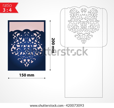 vector laser cut wedding invitation envelope stock vector royalty
