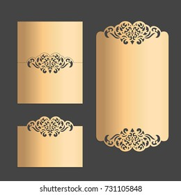 Vector Laser cut wedding menu and place card templates.