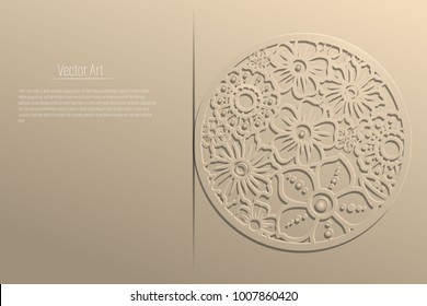 Vector laser die cut out flowers in a circle. With copy space and sample text