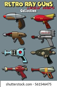 Vector Laser Guns from the Fifties, Sixties Retro Ray Guns Old Movies Set