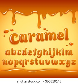 Vector latin alphabet made of caramel, liquid. Font style.