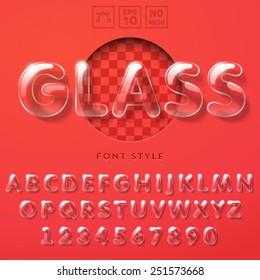 Vector latin alphabet made of glass tubes.