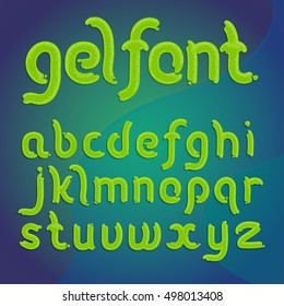 Vector latin alphabet made of green gel with sparkles, liquid. Font style.