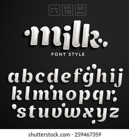 Vector latin alphabet made of milk. Font style.