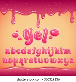 Vector latin alphabet made of pink gel with sparkles, liquid. Font style.