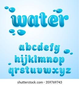 Vector latin alphabet, water effect, liquid. Font style.