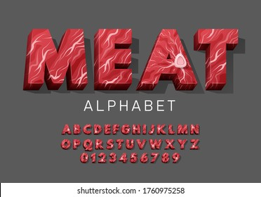 Vector latin meat alphabet. Set of letter and numbers from fresh raw meat with bone. Red tenderloin beef meat font for restaurants, butcher shop, farmers market.
