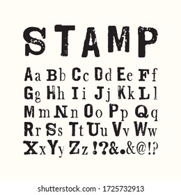 Vector latin stamp alphabet. Vector stamp abc with grunge texture. Vector grunge stamp letters isolated. Font in retro stamp style. Lettering and custom typography for posters, invitations, cards