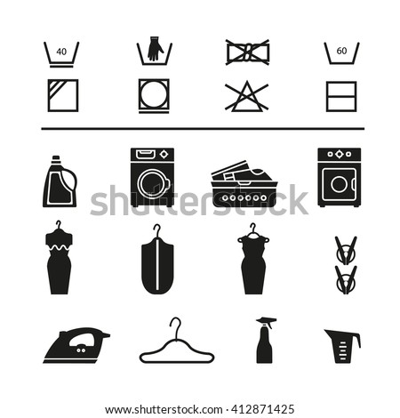 Vector Laundry Collections Pictogram Housework Black Stock Vector