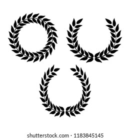 Vector laurel or olives wreaths for invitations, greeting cards, quotes, blogs, posters. Symbol of victory. Vector illustration for design, awards. Crown, winner, ornament.