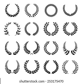 Vector Laurel Wreath Flora theme on a white background set