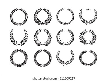 Vector Laurel Wreath Flora theme on a white background set for victory, winner, champion