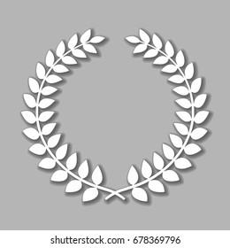 Vector laurel wreath with shadow on grey background.