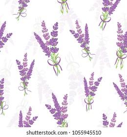Vector lavender bouquets seamless pattern. Beautiful violet lavender flowers retro background. Elegant fabric on light background