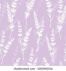 Vector lavender flowers light purple silhouettes seamless pattern. Beautiful violet lavender retro background. Elegant fabric on light background