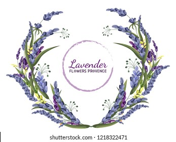 Vector lavender wreath. All elements are isolated. Provencal flowers. Elements for design.