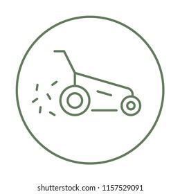Vector lawn mower icon with trendy line art style. Mowing grass linear sign, Gardening tools emblem for Landscaping design company isolated on a white background. Hand lawn mower gardening thin line.