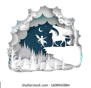 Vector layered paper cut craft style fairytale composition of mythical Pegasus with cute small fairy silhouettes, night starry sky.