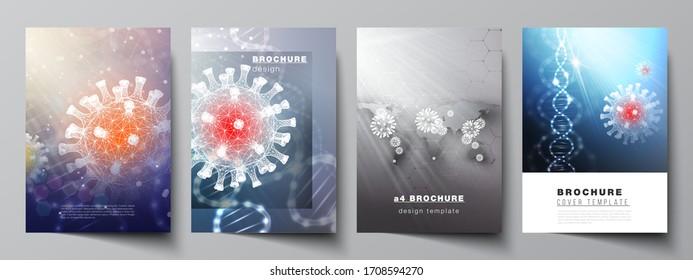 Vektorillustration-Layout von A4-Cover-Mockups-Vorlagen für Broschüren, Flyer-Layout, Broschüre, Cover-Design, Buchdesign. 3D medizinischer Hintergrund des Corona-Virus. Covid 19, Coronavirus-Infektion.Virus-Konzept.