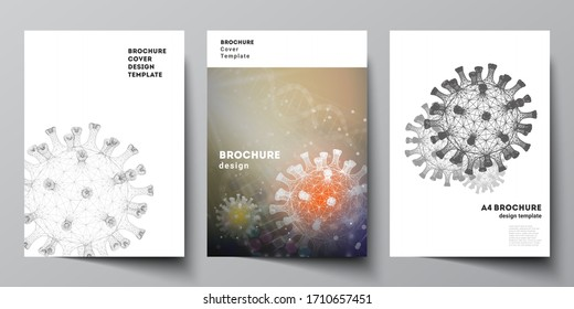 Vector layout of A4 cover mockups templates for brochure, flyer layout, booklet, cover design, book design. 3d medical background of corona virus. Covid 19, coronavirus infection. Virus concept.